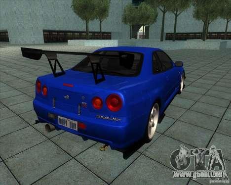 Nissan Skyline R-34 GT-R M-spec Nur pour GTA San Andreas sur la vue arrière gauche