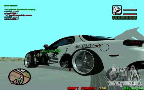 Mazda RX7 Drift pour GTA San Andreas sur la vue arrière gauche