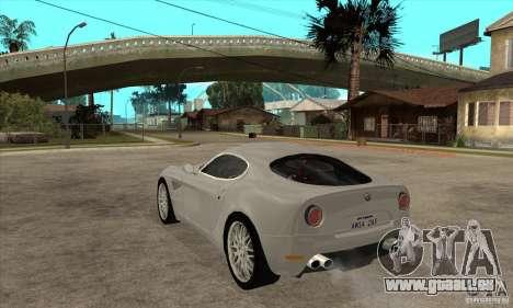 Alfa Romeo 8 C Competizione Lager für GTA San Andreas rechten Ansicht