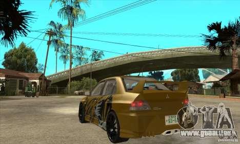 Mitsubishi Lancer Evolution VIII pour GTA San Andreas sur la vue arrière gauche