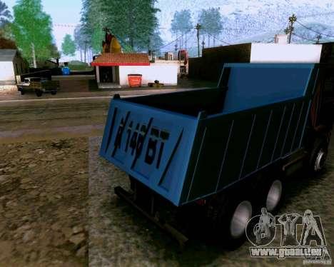 Camion à benne basculante KAMAZ 6520 pour GTA San Andreas sur la vue arrière gauche