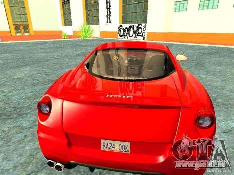 Ferrari 599 GTB für GTA San Andreas Rückansicht