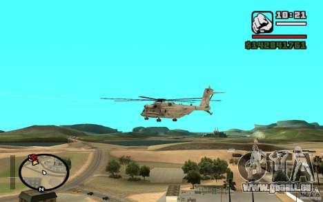 Sikorsky MH-53 mit geschlossenen Luke für GTA San Andreas zurück linke Ansicht