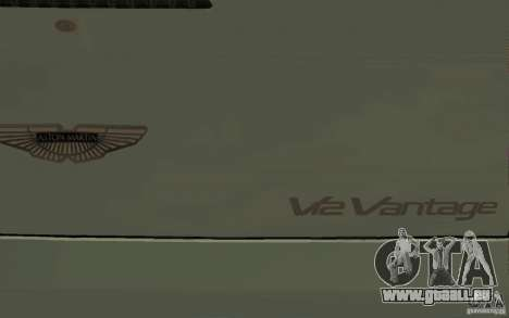 Aston Martin V12 Vantage für GTA San Andreas obere Ansicht