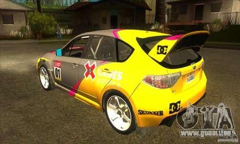 Subaru Impreza WRX STi X jeux Amérique de DIRT 2 pour GTA San Andreas sur la vue arrière gauche