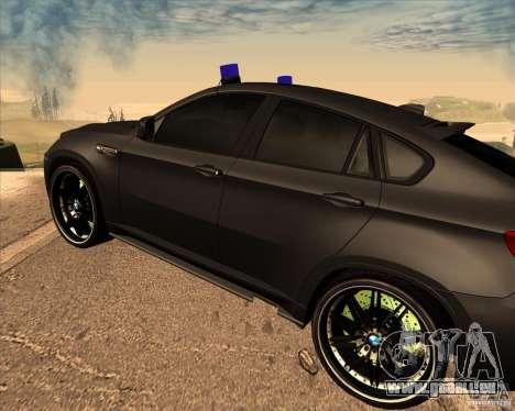 BMW X6 M E71 pour GTA San Andreas vue de droite