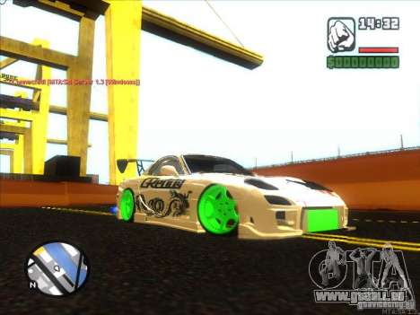 Mazda RX-7 Drift Version pour GTA San Andreas sur la vue arrière gauche