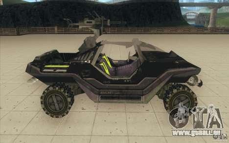 Halo Warthog pour GTA San Andreas vue arrière