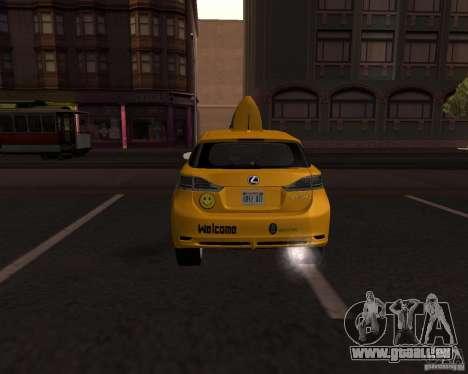 Lexus CT 200h 2011 Taxi für GTA San Andreas zurück linke Ansicht