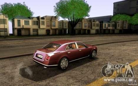 Bentley Mulsanne 2010 v1.0 für GTA San Andreas Rückansicht