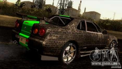 Nissan Skyline R34 Drift pour GTA San Andreas vue de dessous