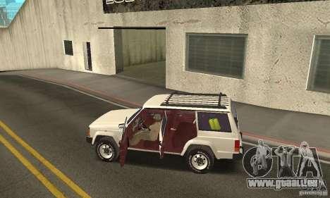 Jeep Grand Cherokee 1986 für GTA San Andreas Unteransicht