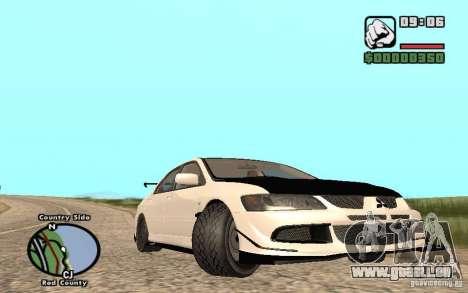 Mitsubishi Lancer Evolution 8 Carbon pour GTA San Andreas sur la vue arrière gauche
