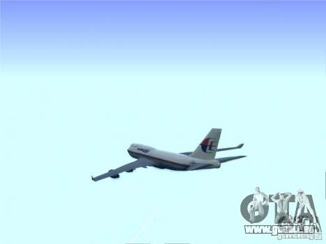 Boeing 747-400 Malaysia Airlines pour GTA San Andreas vue intérieure