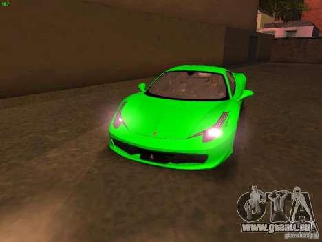 Ferrari 458 Italia für GTA San Andreas Innen