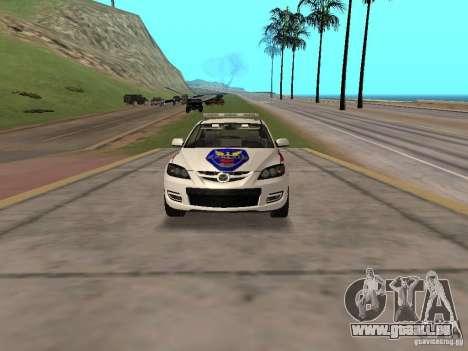 Mazda 3 Police für GTA San Andreas Rückansicht