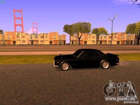 Nissan Skyline 2000GTR pour GTA San Andreas sur la vue arrière gauche