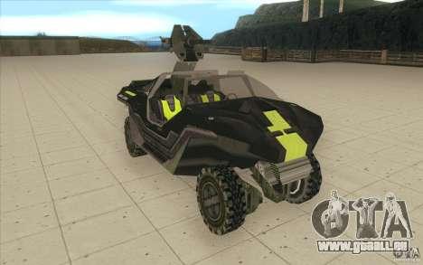 Halo Warthog pour GTA San Andreas vue de droite