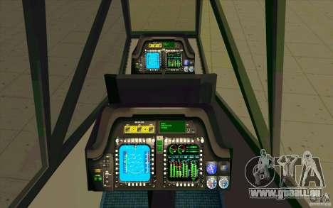 Sikorsky RAH-66 Comanche stealth green für GTA San Andreas Innenansicht