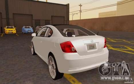 Scion tC pour GTA San Andreas sur la vue arrière gauche