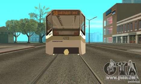 Tramway CT 71-619 (KTM-19) pour GTA San Andreas sur la vue arrière gauche