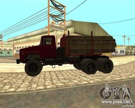 Transporteur de bois KrAZ-255 pour GTA San Andreas sur la vue arrière gauche