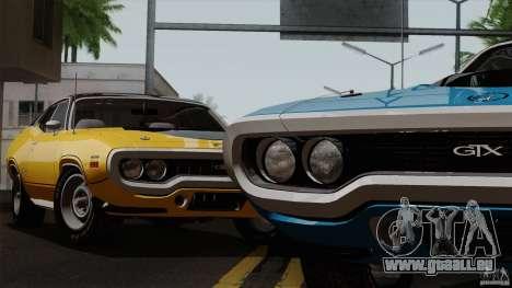 Plymouth GTX 426 HEMI 1971 pour GTA San Andreas sur la vue arrière gauche