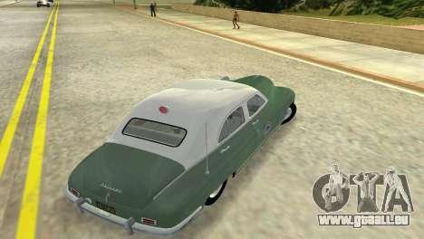 Packard Standard Eight Touring Sedan Police 1948 pour une vue GTA Vice City de la droite