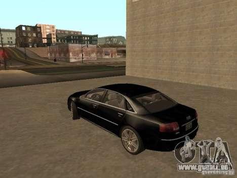 Audi A8 W12 S-Line für GTA San Andreas zurück linke Ansicht