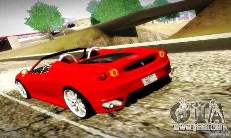 Ferrari F430 Spider pour GTA San Andreas vue de dessus