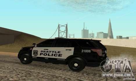 Ford Police Interceptor Utility 2011 pour GTA San Andreas laissé vue
