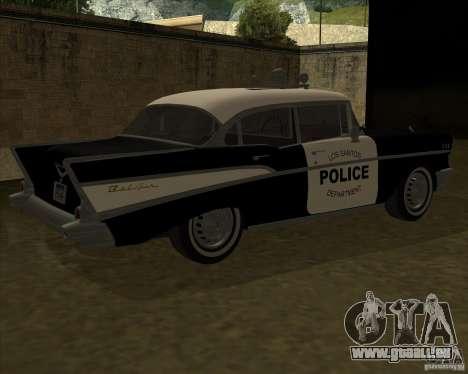Chevrolet BelAir Police 1957 pour GTA San Andreas sur la vue arrière gauche