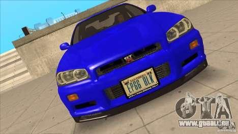 Nissan Skyline R34 FNF4 pour GTA San Andreas vue de dessus