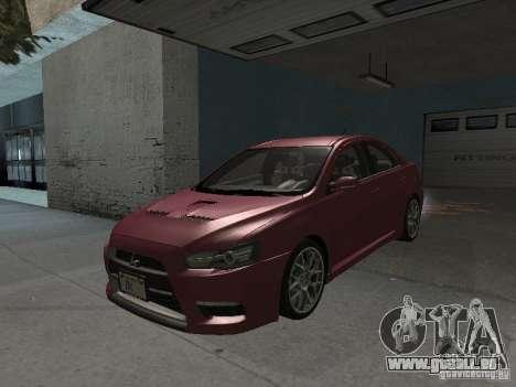 Mitsubishi Evolution X Stock-Tunable pour GTA San Andreas vue de dessus