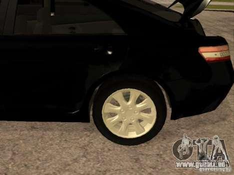 Toyota Camry 2010 pour GTA San Andreas vue intérieure