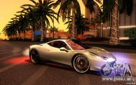 Ferrari 458 Italia Final für GTA San Andreas Rückansicht