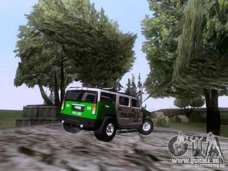 Hummer H2 Polizei pour GTA San Andreas vue de droite