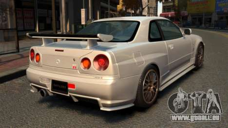 Nissan Skyline R34 2002 pour GTA 4 Vue arrière de la gauche
