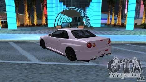 Nissan Skyline GTR-34 M-spec Nur für GTA San Andreas zurück linke Ansicht