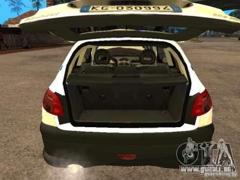 Peugeot 206 Police für GTA San Andreas Rückansicht