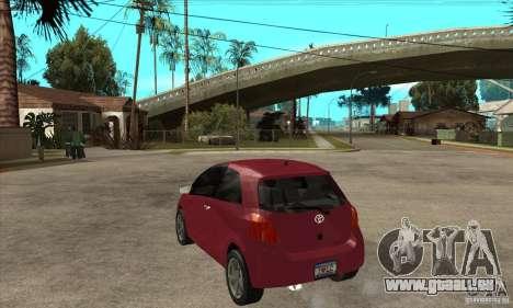 Toyota Yaris pour GTA San Andreas sur la vue arrière gauche