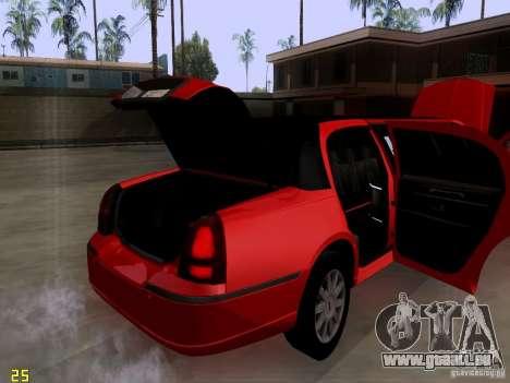 Lincoln Towncar 2010 pour GTA San Andreas vue intérieure