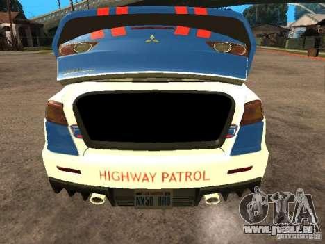 Mitsubishi Lancer X Police Indonesia für GTA San Andreas Rückansicht
