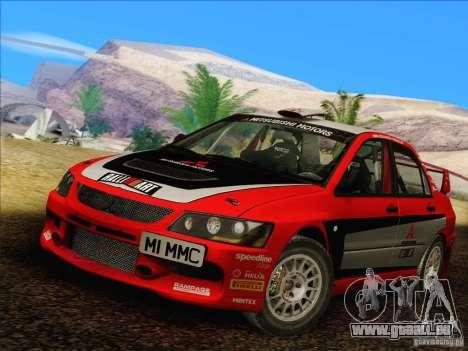 Mitsubishi Lancer Evolution IX Rally pour GTA San Andreas laissé vue