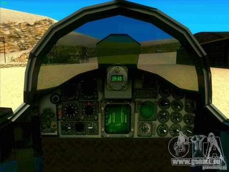 F-5E Tiger pour GTA San Andreas vue intérieure