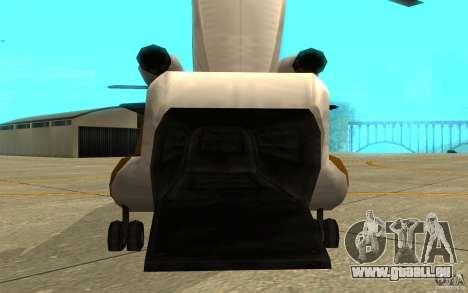 GTA SA Chinook Mod pour GTA San Andreas vue arrière