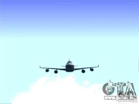 Boeing 747-400 Malaysia Airlines für GTA San Andreas Rückansicht