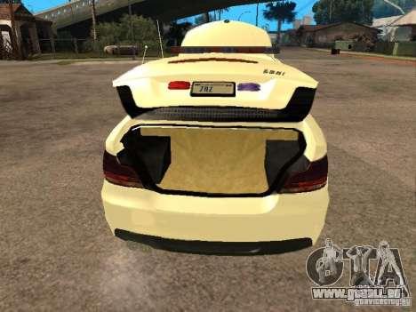 Bmw 135i coupe Police pour GTA San Andreas vue arrière