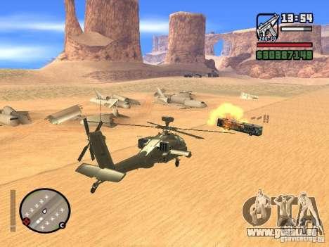 AH-64D Longbow Apache pour GTA San Andreas vue de dessus