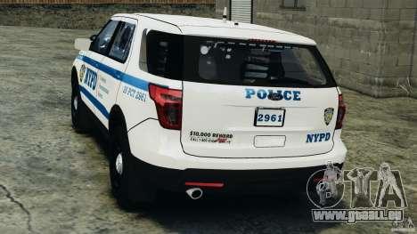Ford Explorer NYPD ESU 2013 [ELS] für GTA 4 hinten links Ansicht